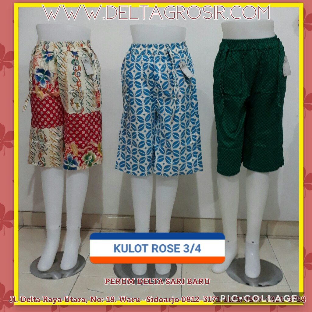 Obral Baju Anak Murah Surabaya Supplier Celana Kulot Rose 3/4 Wanita Dewasa Murah Surabaya 27Ribu