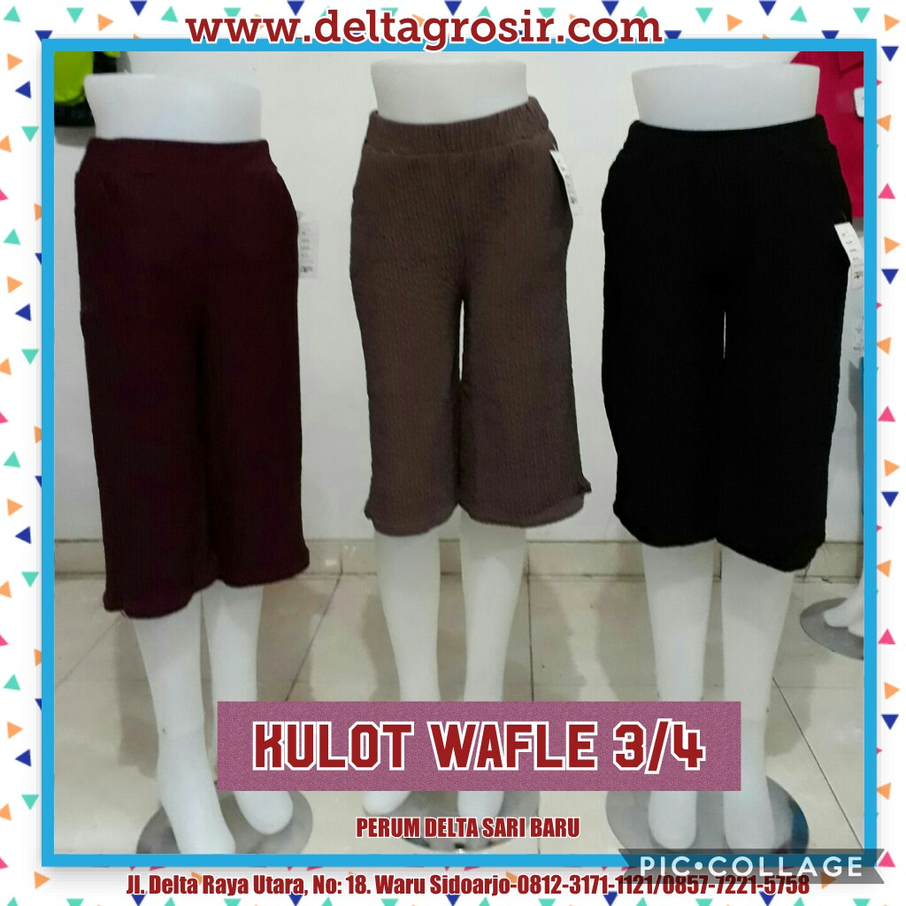 Obral Baju Anak Murah Surabaya Produsen Celana Kulot Waffle 3/4 Wanita Dewasa Murah 26Ribu