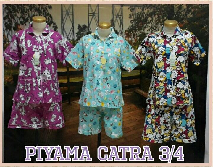 Obral Baju Anak Murah Surabaya Supplier Piyama Katun Catra Dewasa 3/4 Murah Surabaya 55Ribu