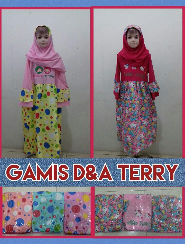 Obral Baju Anak Murah Surabaya Konveksi Gamis DNA Terry Anak Perempuan Murah Surabaya 39Ribu