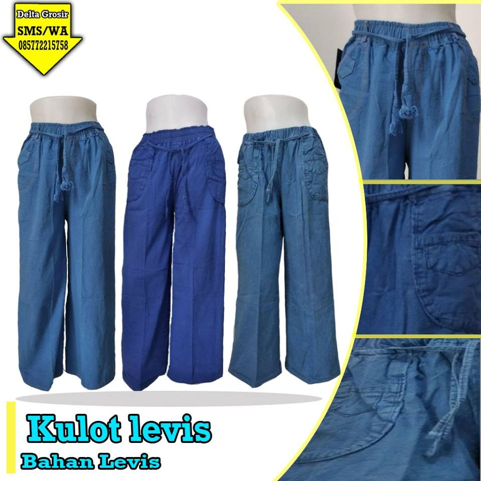 Grosir Baju Murah Surabaya,SMS/WA ORDER ke 0857-7221-5758 Distributor Celana Kulot Levis Dewasa Murah di Surabaya