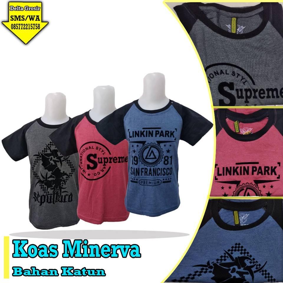 Grosir Baju Murah Surabaya,SMS/WA ORDER ke 0857-7221-5758 Konveksi Kaos Minerva Anak Murah di Surabaya