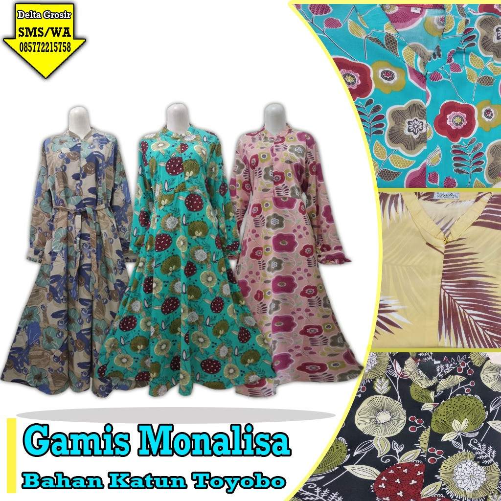 Grosir Baju Murah Surabaya,SMS/WA ORDER ke 0857-7221-5758 Supplier Gamis Monalisa Dewasa Murah di Surabaya